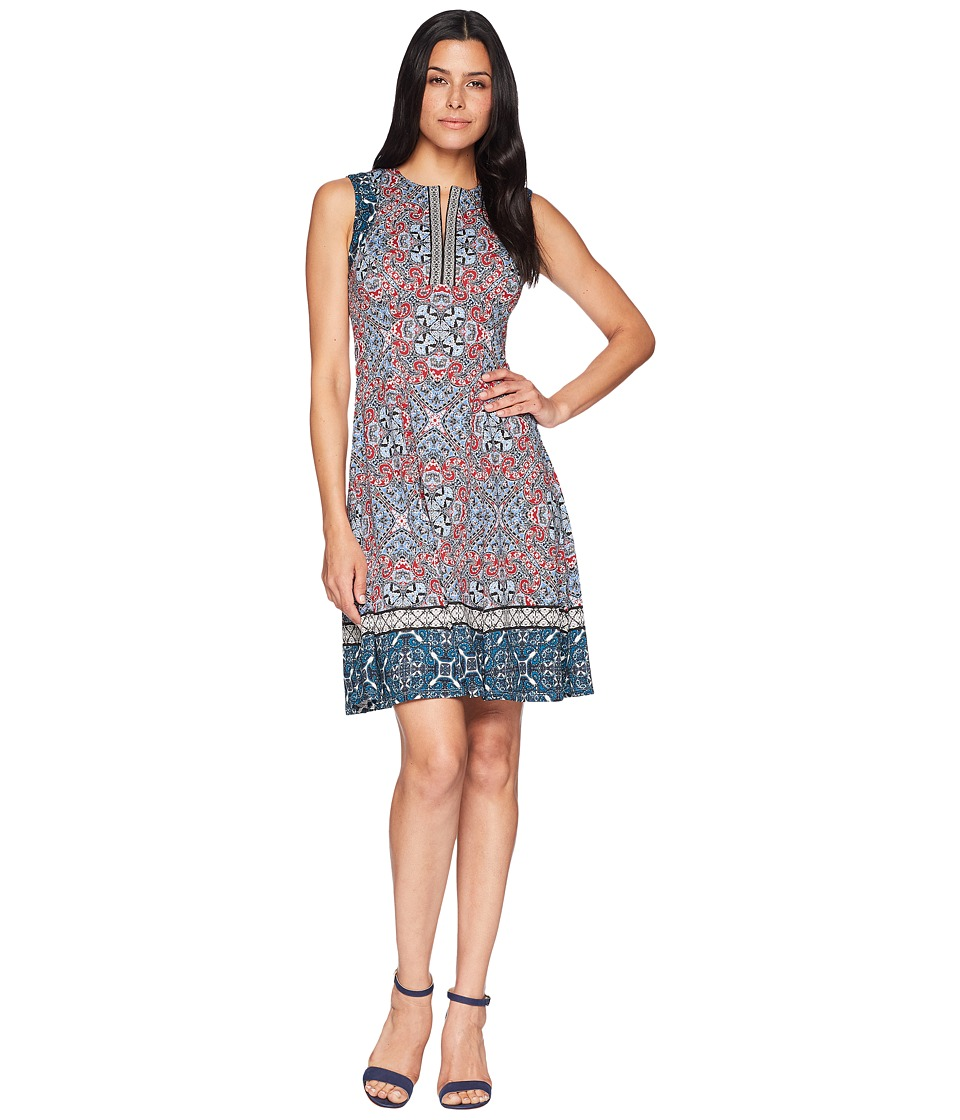 Maggy London - Carpet Medallion Printed Scuba Fit and Flare (Soft White/Red) Womens Dress
