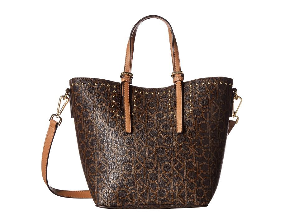 Calvin Klein Monogram Small Tote (Brown/Khaki) Tote Handbags