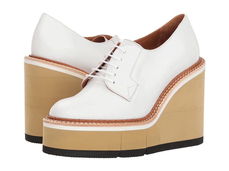 Clergerie Badiane (White Leather Calf) Wedges