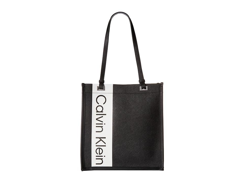 Calvin Klein Saffiano North/South Tote (Black/Silver) Tot...