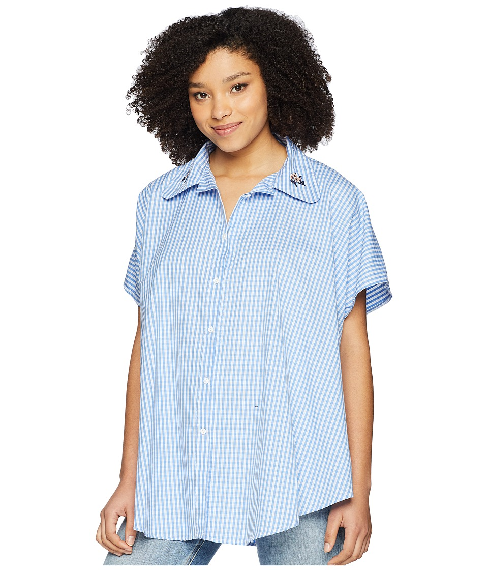 Vince Camuto - Embroidered Gingham Boyfriend Button Up Topper (Silver Lake Blue) Womens Clothing
