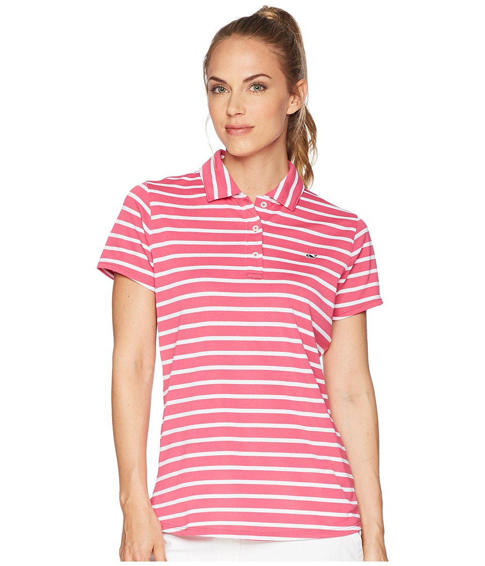 Vineyard Vines Golf - Short Sleeve Striped Pique Polo (Rhododendron) Womens Short Sleeve Pullover