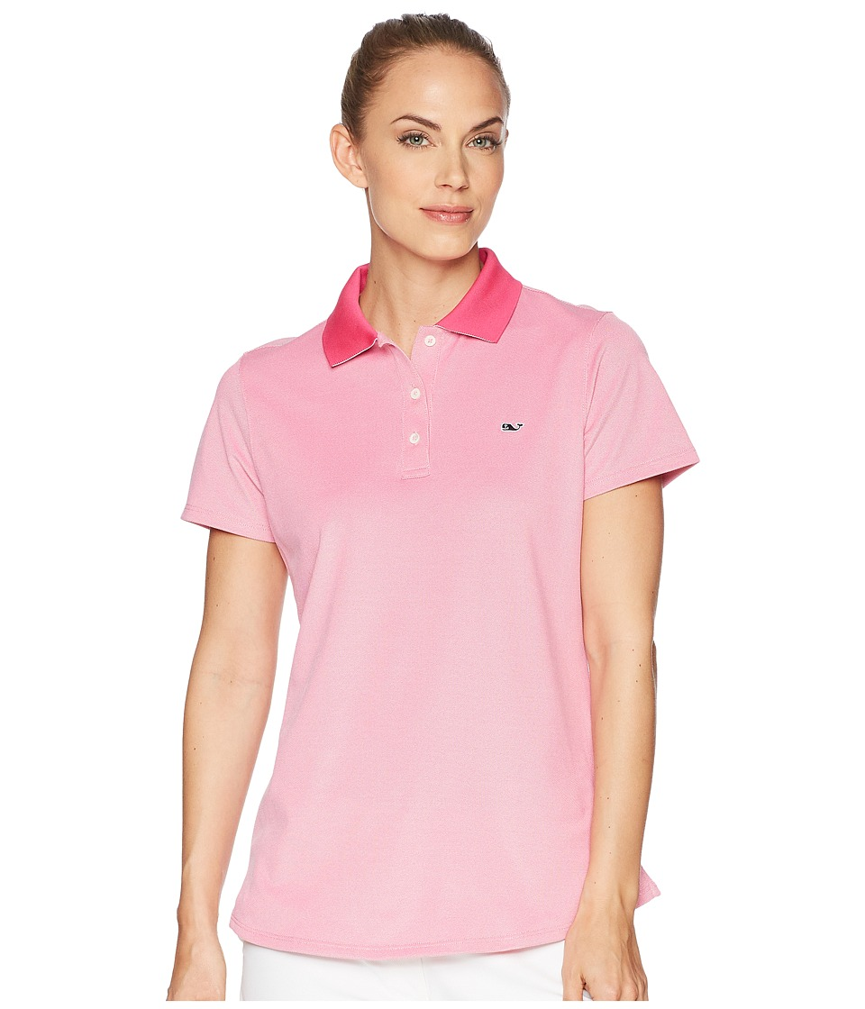 Vineyard Vines Golf - Short Sleeve Pique Polo (Rhododendron) Womens Short Sleeve Pullover