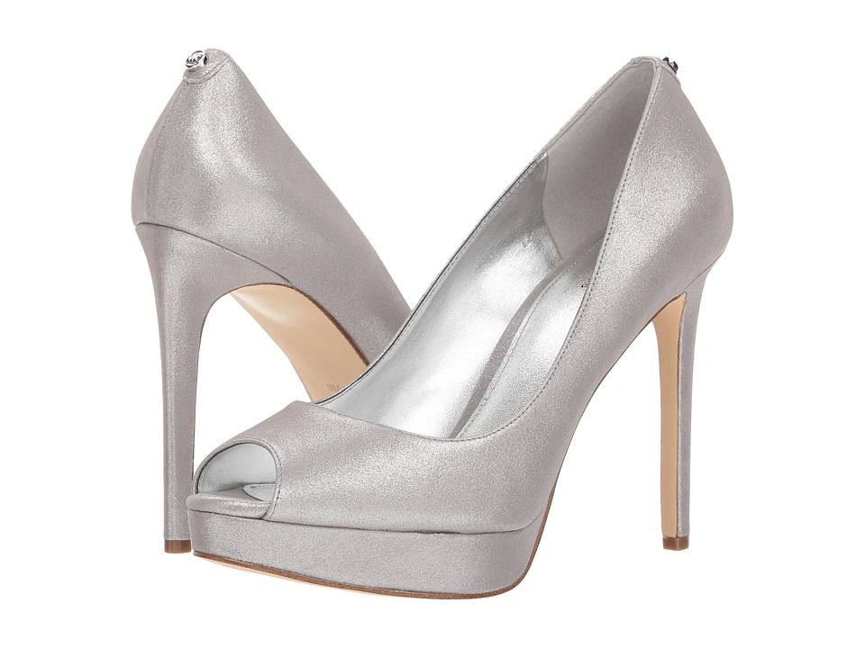 MICHAEL Michael Kors Erika Platform (Silver Brushed Metallic) High Heels