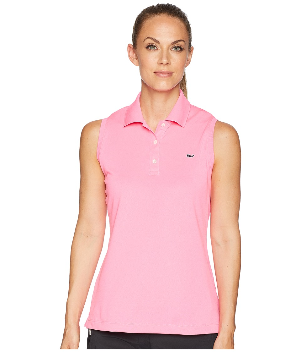 Vineyard Vines Golf - Sleeveless Performance Pique Polo (Malibu Pink) Womens Clothing