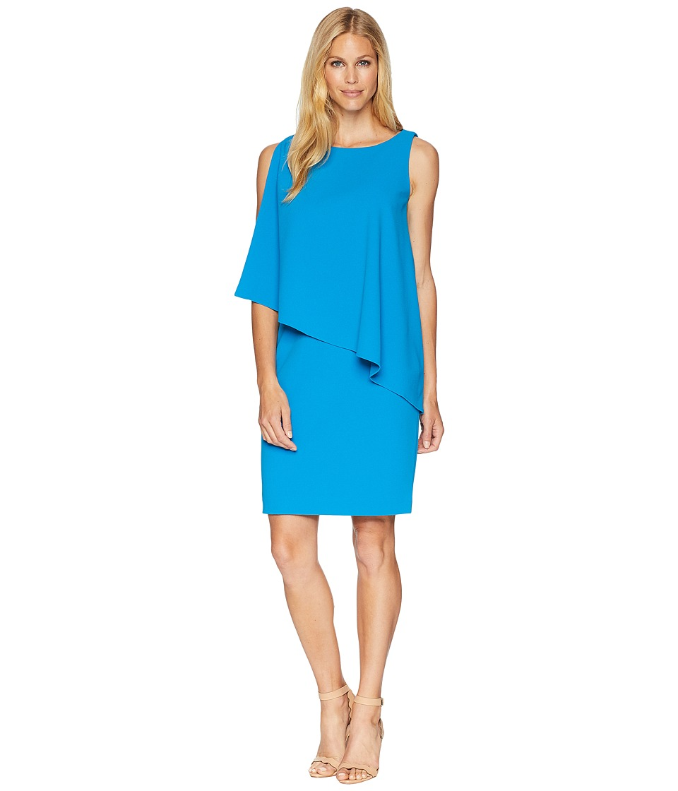 LAUREN Ralph Lauren - 130H Luxe Scuba Crepe Cooper One Shoulder Day Dress (Maremma Blue) Womens Dress