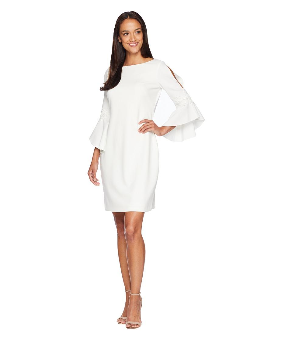 LAUREN Ralph Lauren - 130H Luxe Tech Crepe Demi 3/4 Sleeve Day Dress (Cream) Womens Dress