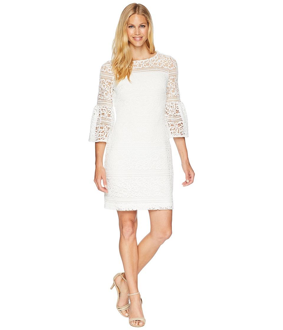 LAUREN Ralph Lauren - 138A Filigree Striped Obelix 3/4 Sleeve Day Dress (White) Womens Dress