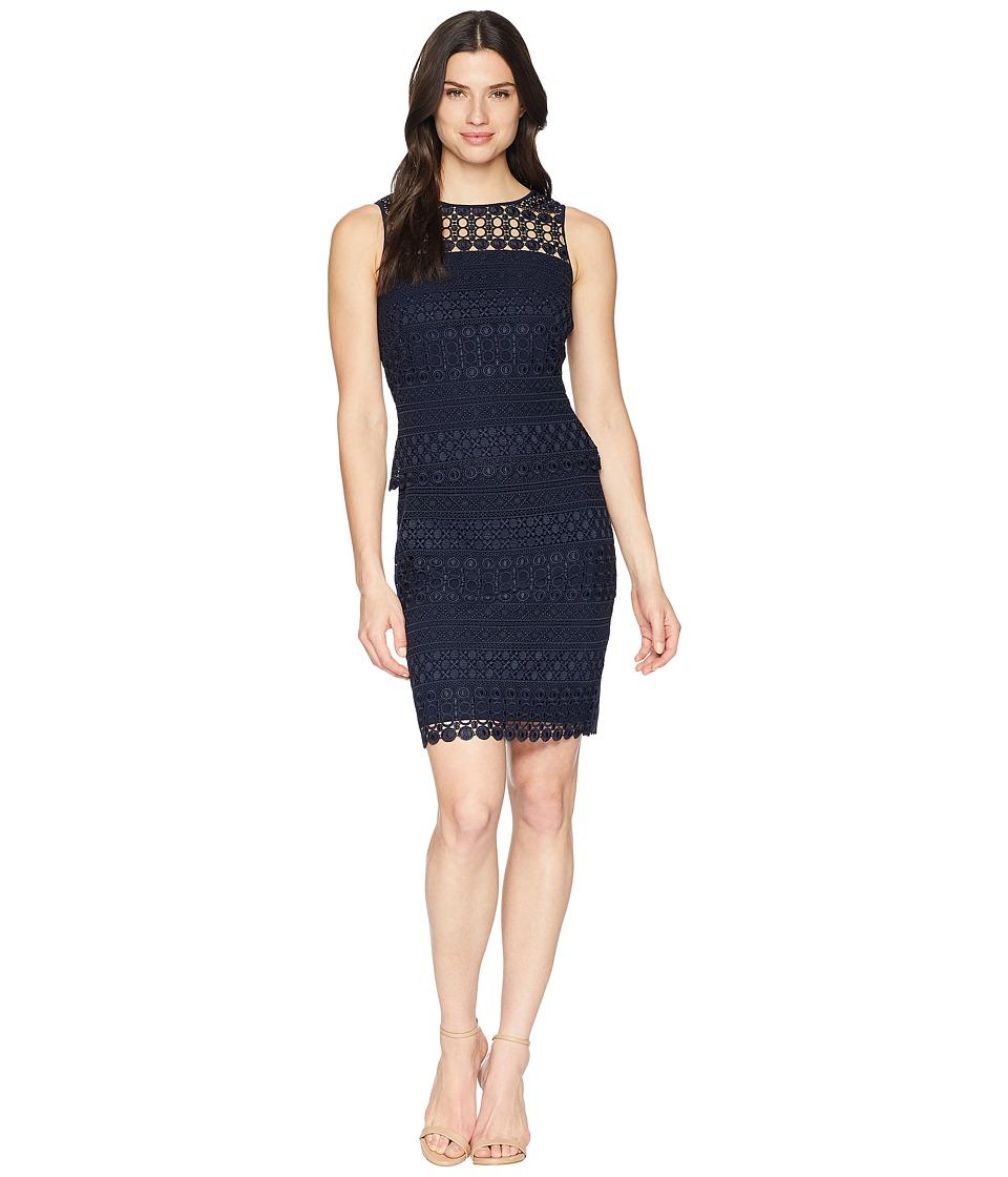 LAUREN Ralph Lauren - 143B Nora Geo Lace Pepper Sleeveless Day Dress (Lighthouse Navy) Womens Dress