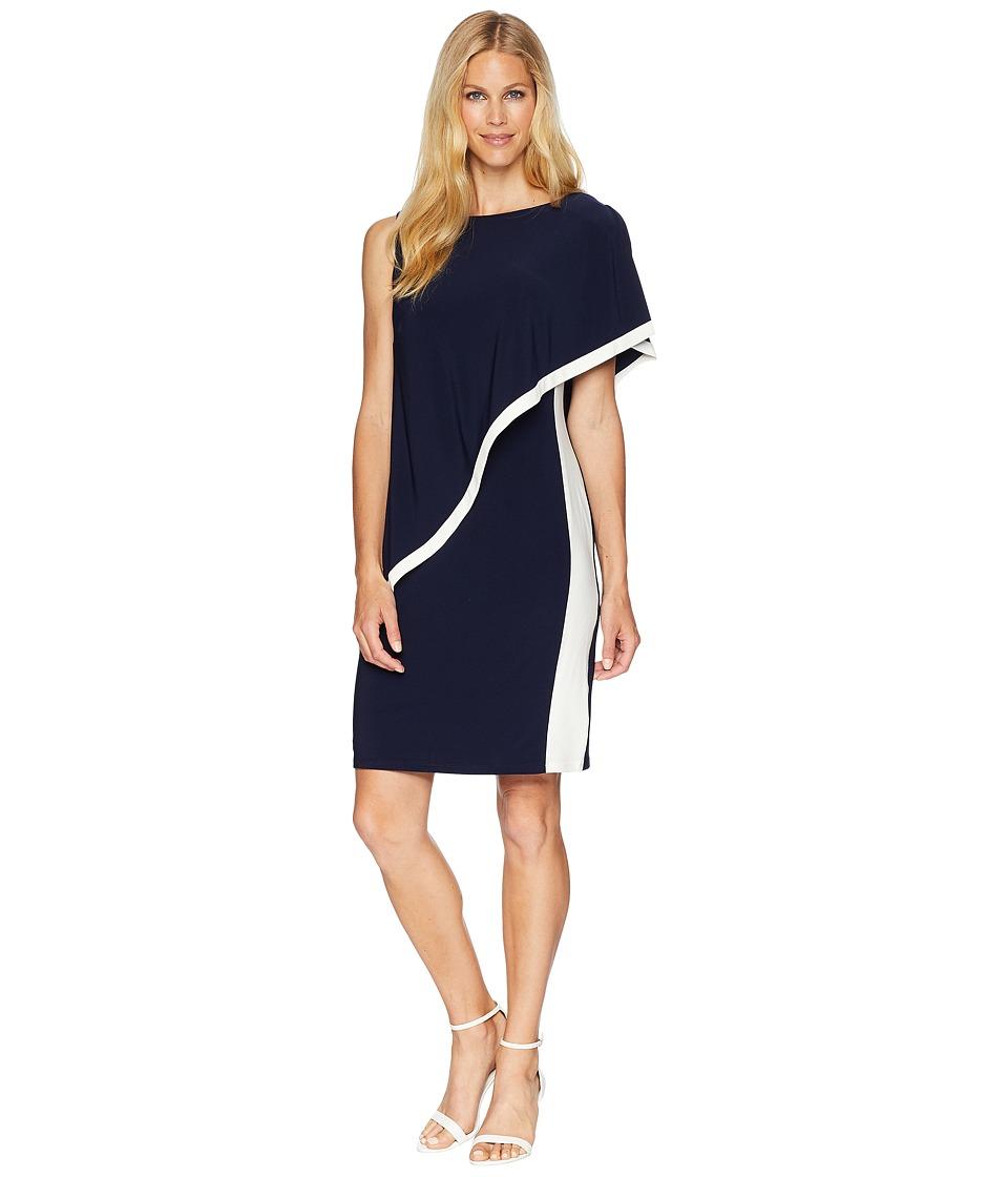 LAUREN Ralph Lauren - 1T Matte Jersey Timna Two-Tone Sleeveless Day Dress (Lighthouse Navy/Colonial Cream) Womens Dress