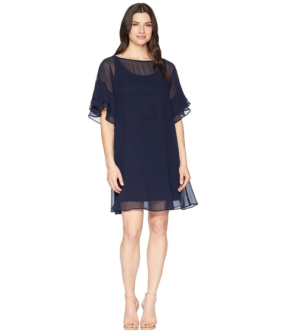 LAUREN Ralph Lauren - 2E Poly Georgette Kiralyn Elbow Sleeve Day Dress (Lighthouse Navy) Womens Dress