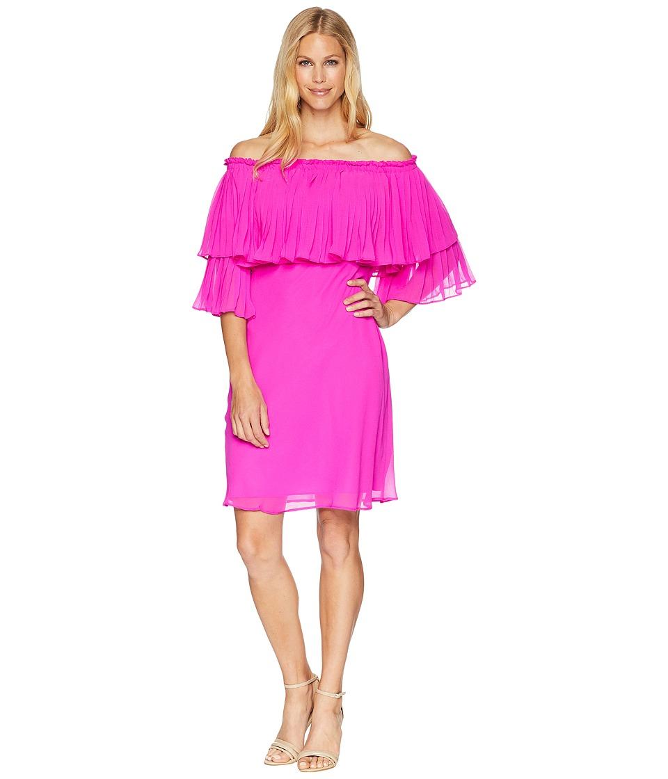 LAUREN Ralph Lauren - 2E Poly Georgette Romina 3/4 Sleeve Day Dress (Paradise Pink) Womens Dress