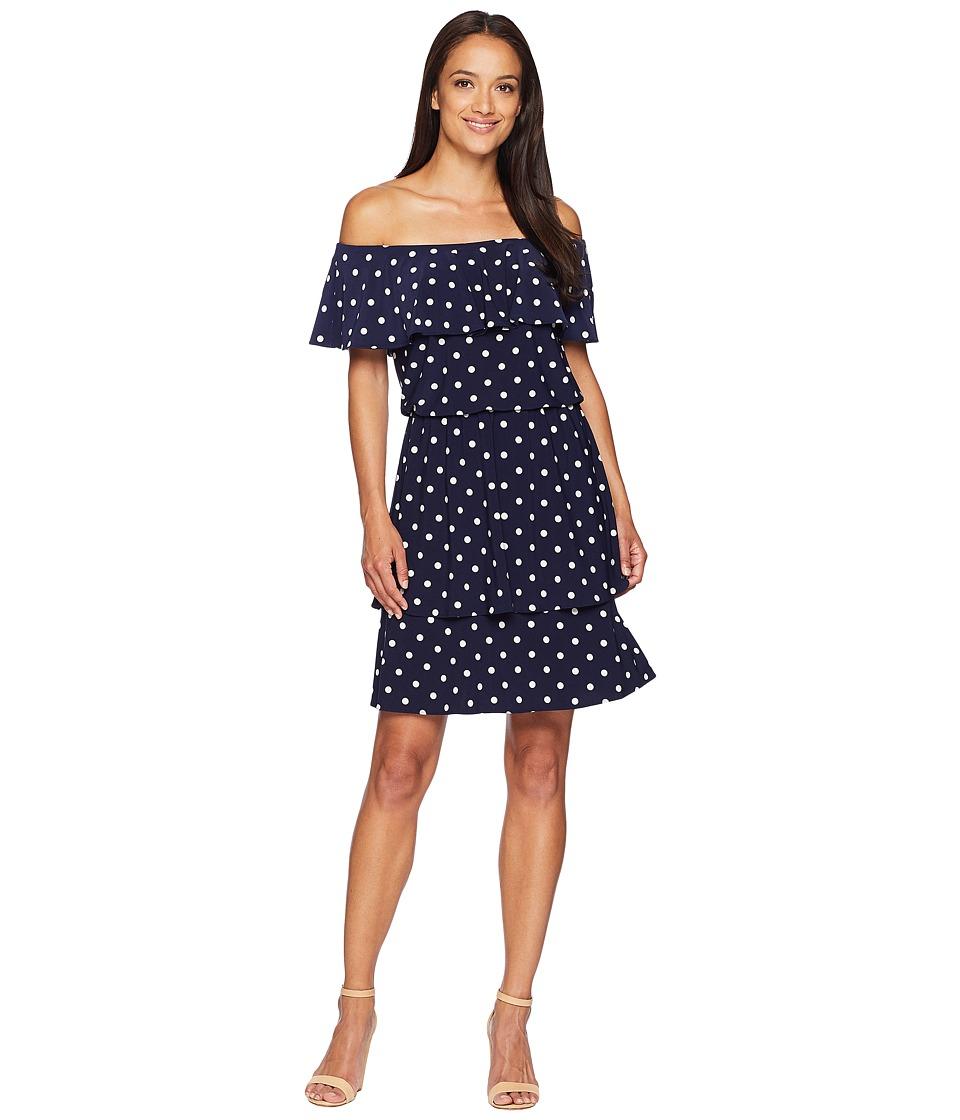 LAUREN Ralph Lauren - R4 Classic Dot Lorelei Short Sleeve Day Dress (Lighthouse Navy/Colonial Cream) Womens Dress