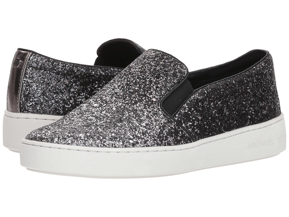 MICHAEL Michael Kors Keaton Slip-On (Gunmetal Degrade Chunky Glitter/Mirror Metallic) Slip-On Shoes