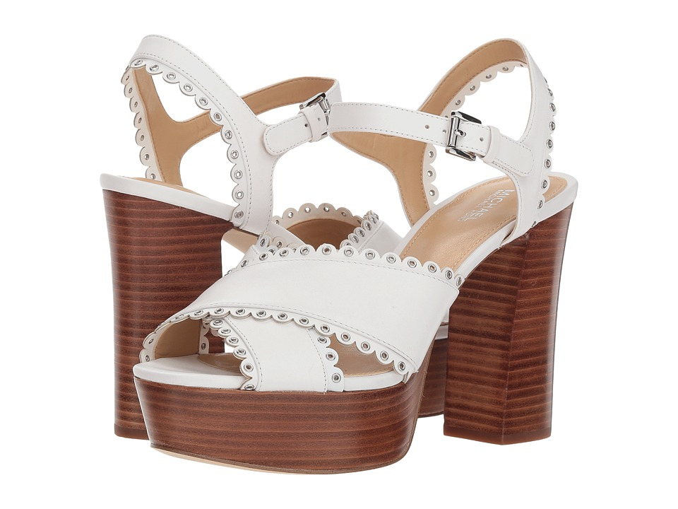 MICHAEL Michael Kors Jessie Platform (Optic White Vachetta) High Heels