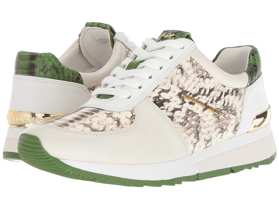 MICHAEL Michael Kors Allie Trainer (Natural/Cream/True Green Marked Embossed Snake/Vachetta)
