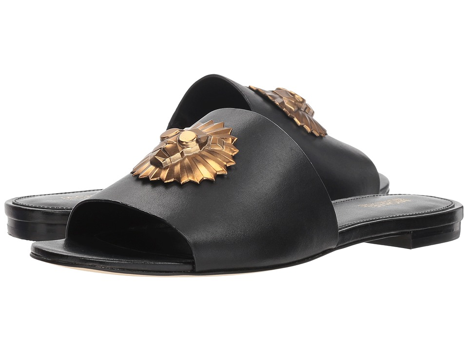 MICHAEL Michael Kors Shelly Slide (Black Vachetta/Rory Taupe Charm) Sandals