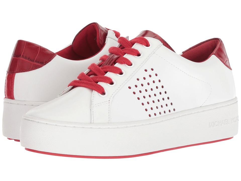 MICHAEL Michael Kors Poppy Lace-Up (Optic White/Scarlt Vachetta Perf/Embossed Croc/Patent) Women's Shoes