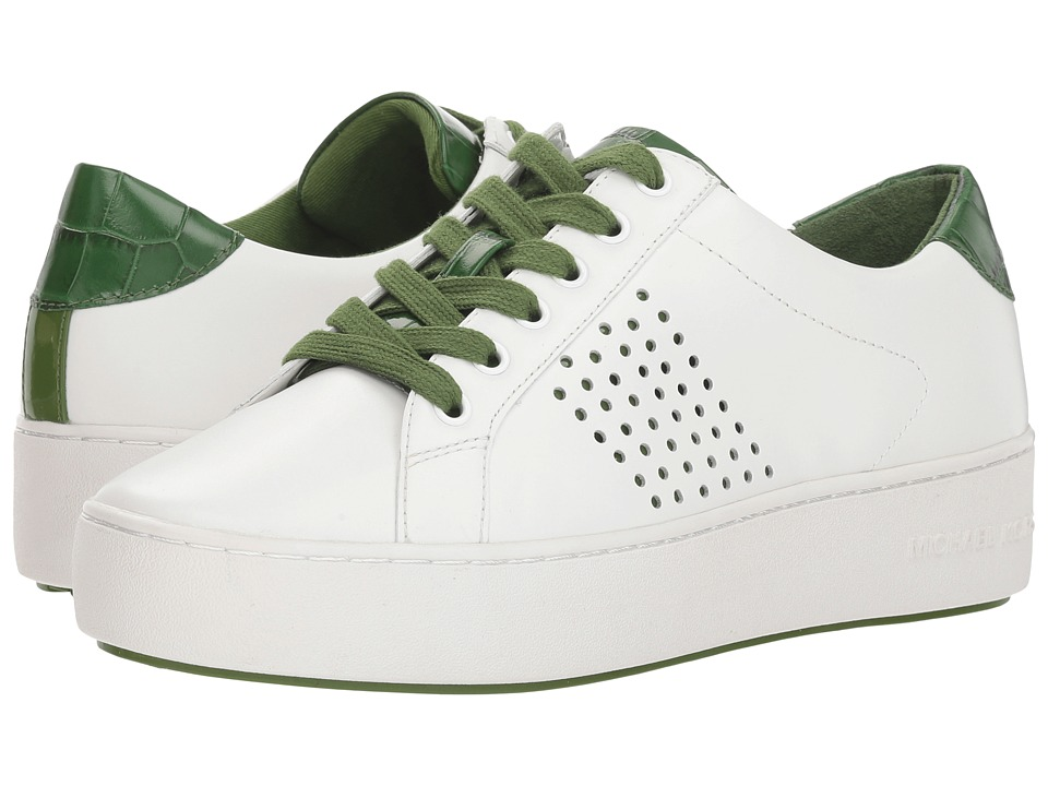 MICHAEL Michael Kors Poppy Lace-Up (Optic White/True Green/Vachetta Perf/Embossed Croc/Patent) Women's Shoes