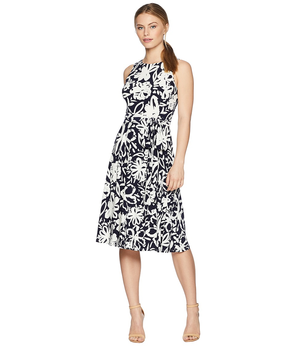 LAUREN Ralph Lauren - Petite B551 Coastal Floral Feliana Sleeveless Day Dress (Lighthouse Navy/Colonial Cream) Womens Dress