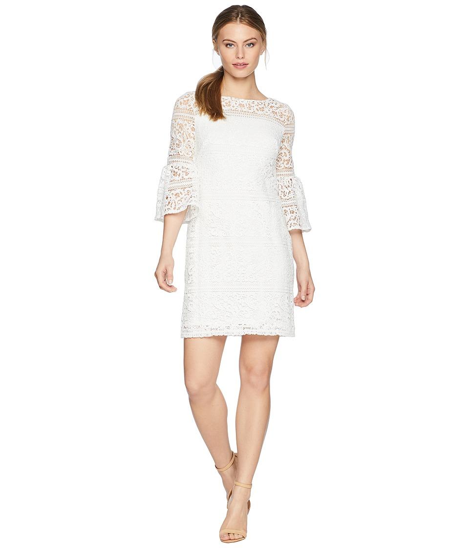 LAUREN Ralph Lauren - Petite 138A Filigree Striped Obelix 3/4 Sleeve Day Dress (White) Womens Dress