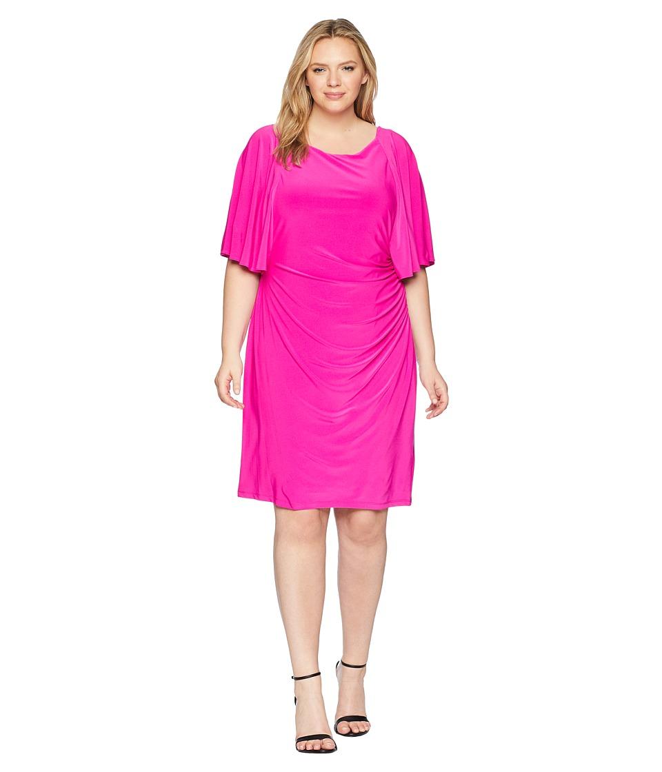 LAUREN Ralph Lauren - Plus Size 1T Matte Jersey Jessup 3/4 Sleeve Day Dress (Paradise Pink) Womens Dress