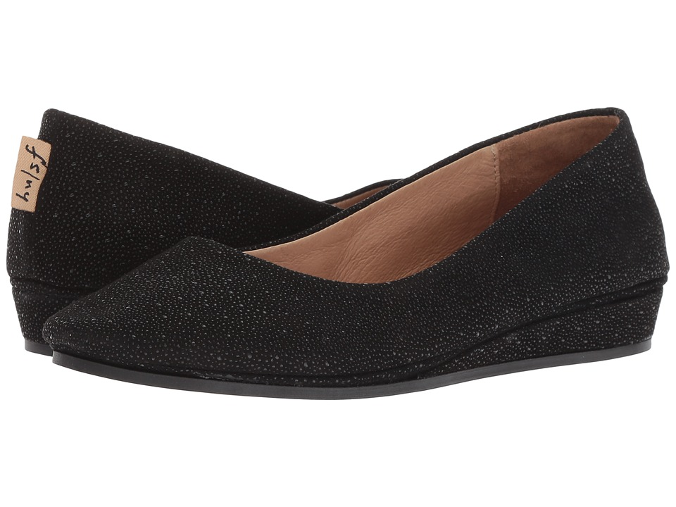 French Sole Zeppa Flat (Black Stingray) Slip-On Shoes