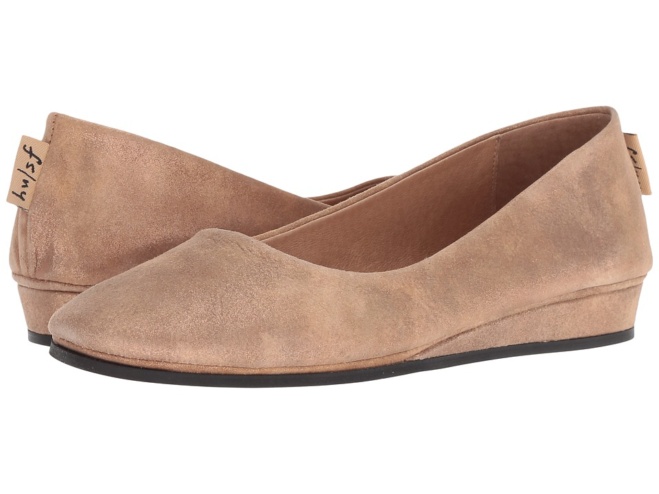French Sole Zeppa Flat (Caramel Metallic Suede) Slip-On Shoes
