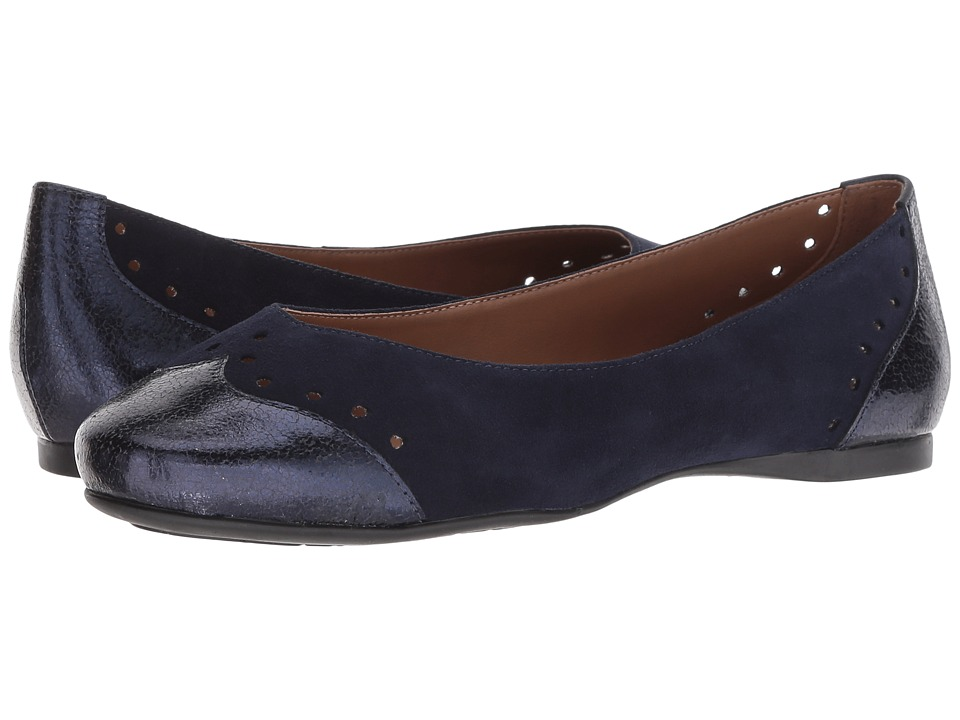French Sole Civil Flat (Navy Suede Metallic) Women's Shoes