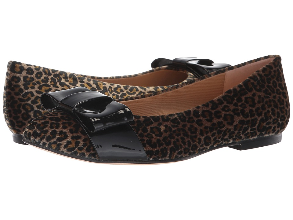 French Sole Onstage (Leopard Velvet/Black Patent) Flats