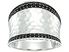 John Hardy Classic Chain Hammered Saddle Ring with Black Sapphire and Spinel