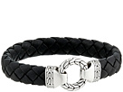 John Hardy Classic Chain 12mm Ring Clasp Bracelet in Black Leather