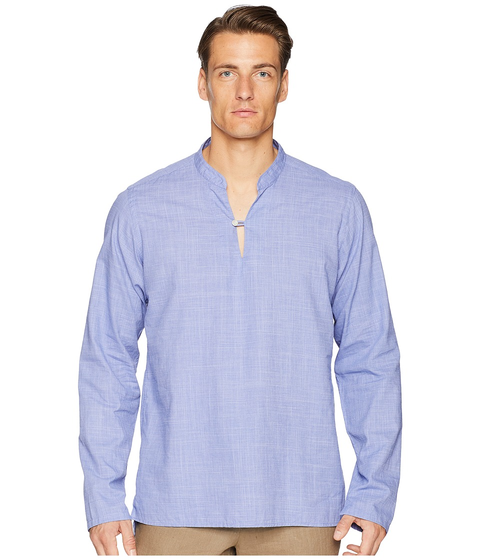 Eton - Contemporary Fit Popover Shirt (Blue) Mens Long Sleeve Button Up