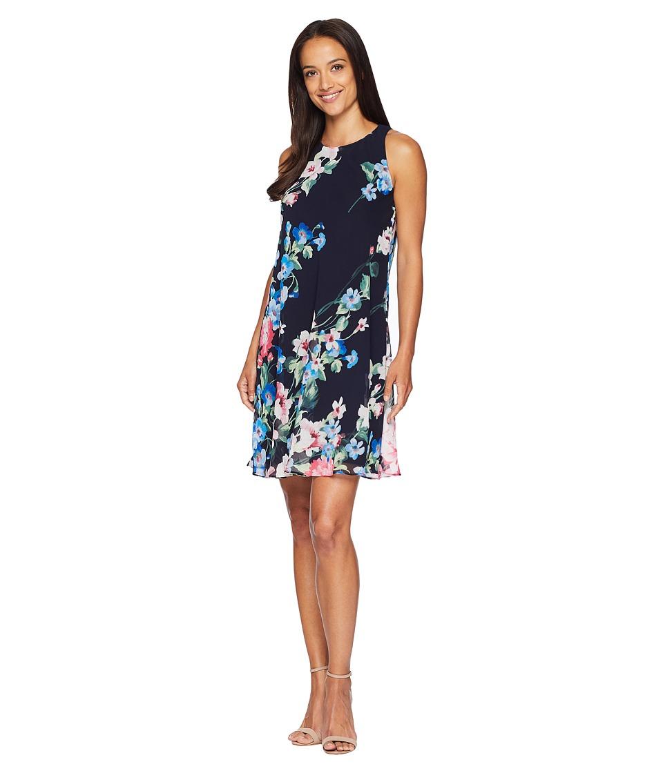 LAUREN Ralph Lauren - B541 Catamaran Floral Geminah Sleeveless Day Dress (Navy Multi) Womens Dress