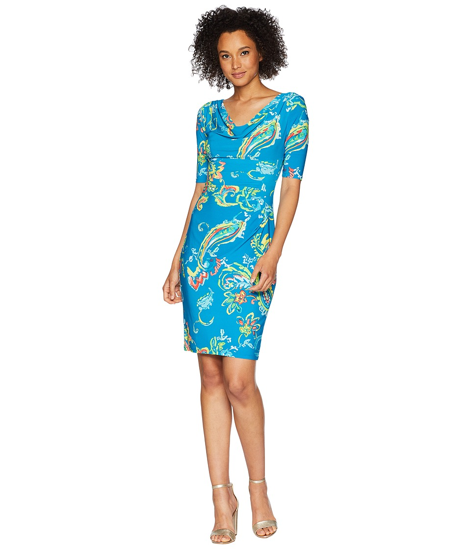 LAUREN Ralph Lauren - B574 Sprinkle Paisley Carleton 3/4 Sleeve Day Dress (Teal/Coral/Multi) Womens Dress