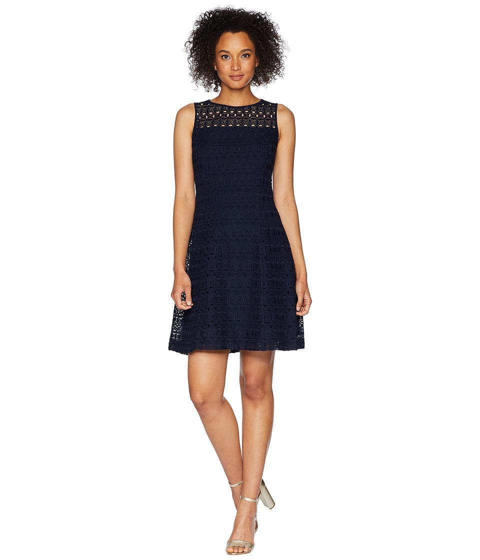 LAUREN Ralph Lauren - 148H Embroidered Mondriana Sleeveless Day Dress (Lighthouse Navy) Womens Dress