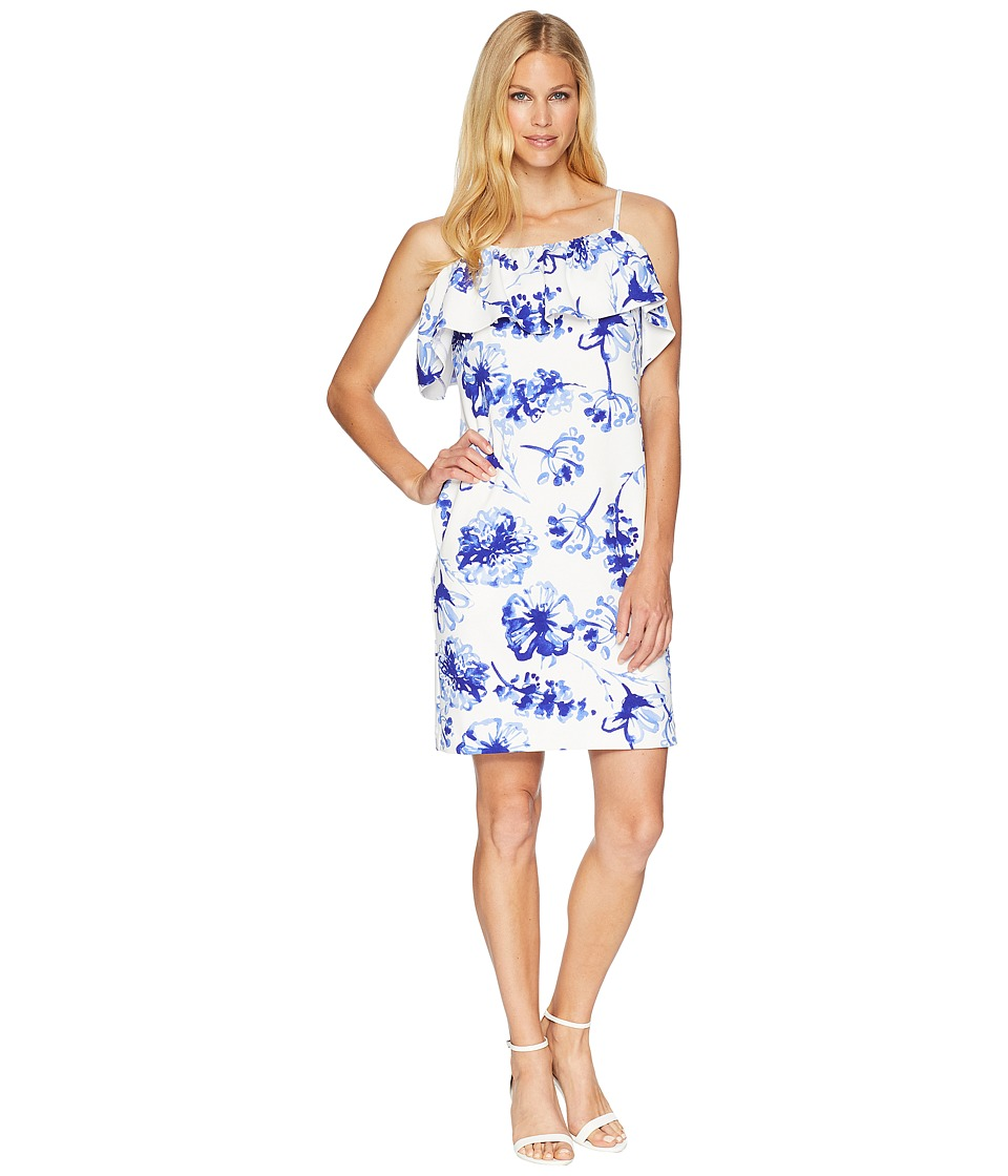 LAUREN Ralph Lauren - B599 Texacana Floral Catalia Day Dress (Colonial Cream/Blue/Multi) Womens Dress