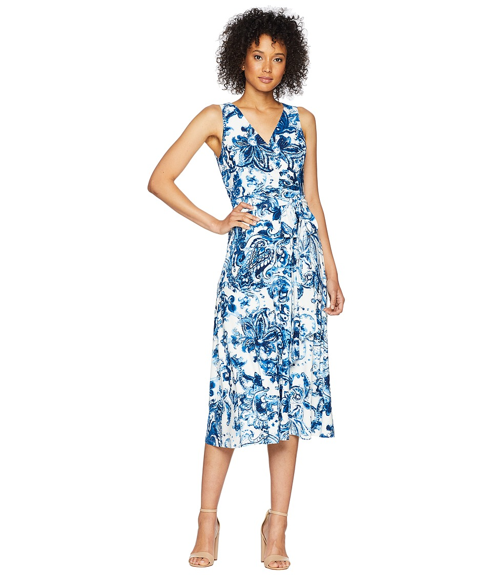 LAUREN Ralph Lauren - A148 Coco Paisley Cara Sleeveless Day Dress (Colonial Cream/Blue/Multi) Womens Dress