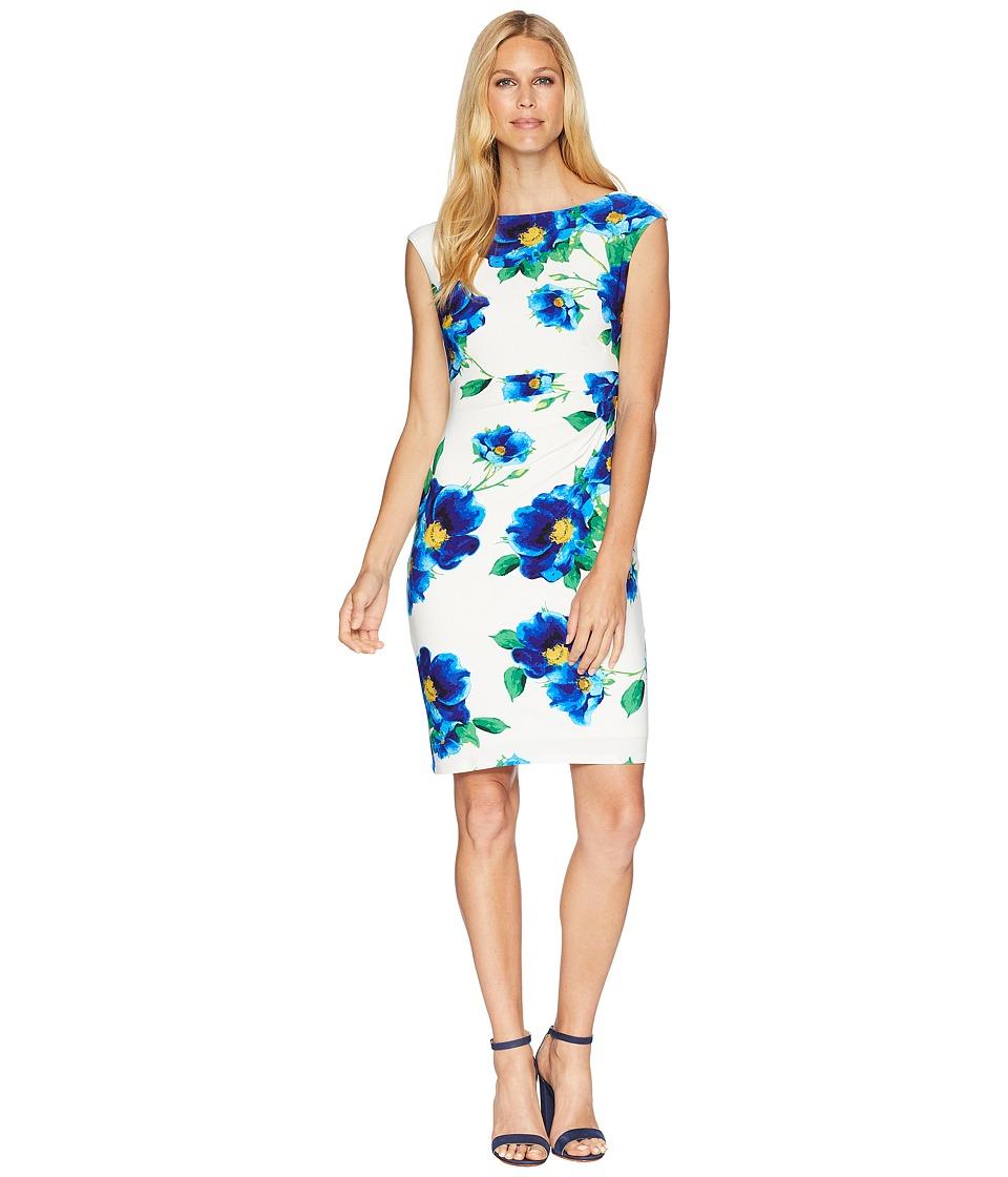 LAUREN Ralph Lauren - B585 Chrome Floral Novellina Cap Sleeve Day Dress (Colonial Cream/Blue/Multi) Womens Dress