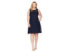 LAUREN Ralph Lauren Plus Size 148H Embroidered Mondriana Sleeveless Day Dress