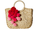 Hat Attack Small Round Handle Tote with Poms