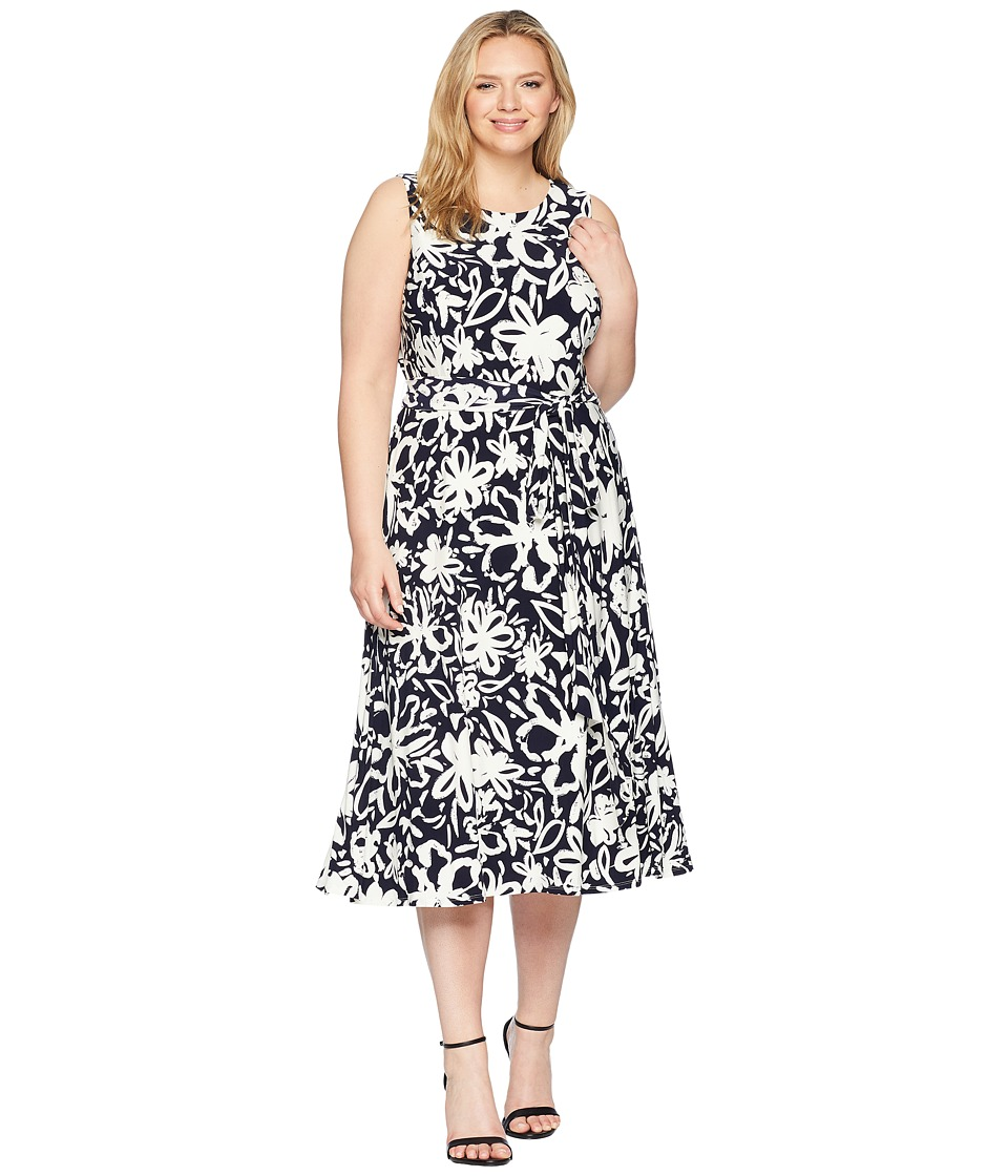 LAUREN Ralph Lauren - Plus Size B551 Coastal Floral Feliana Sleeveless Day Dress (Lighthouse Navy/Colonial Cream) Womens Dress