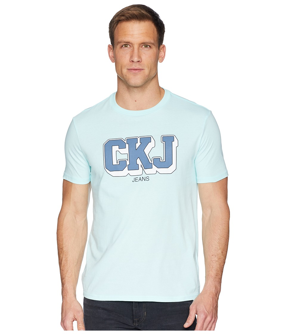 Calvin Klein Jeans - Short Sleeve T-Shirt CKJ Athletic Logo (Pastel Turquoise) Mens Clothing