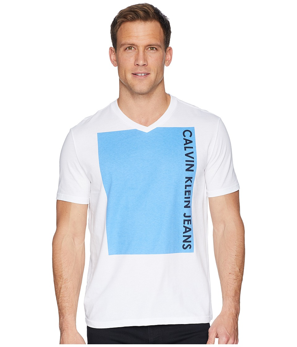Calvin Klein Jeans - Short Sleeve T-Shirt Vertical Logo V-Neck (Azure Blue) Mens Clothing