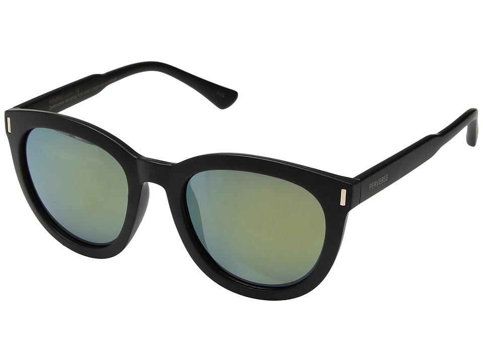 PERVERSE Sunglasses - Saint Barts (Matte Black/Green Mirror) Fashion Sunglasses