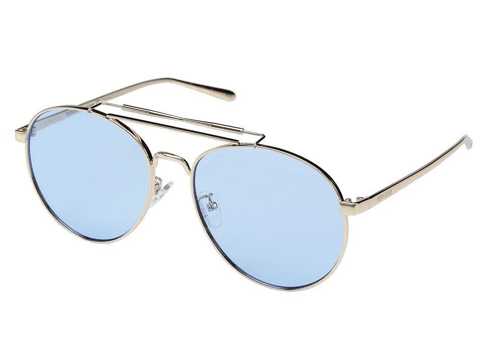 PERVERSE Sunglasses - Crisp (Gold Metal/Pastel Blue Transparent) Fashion Sunglasses