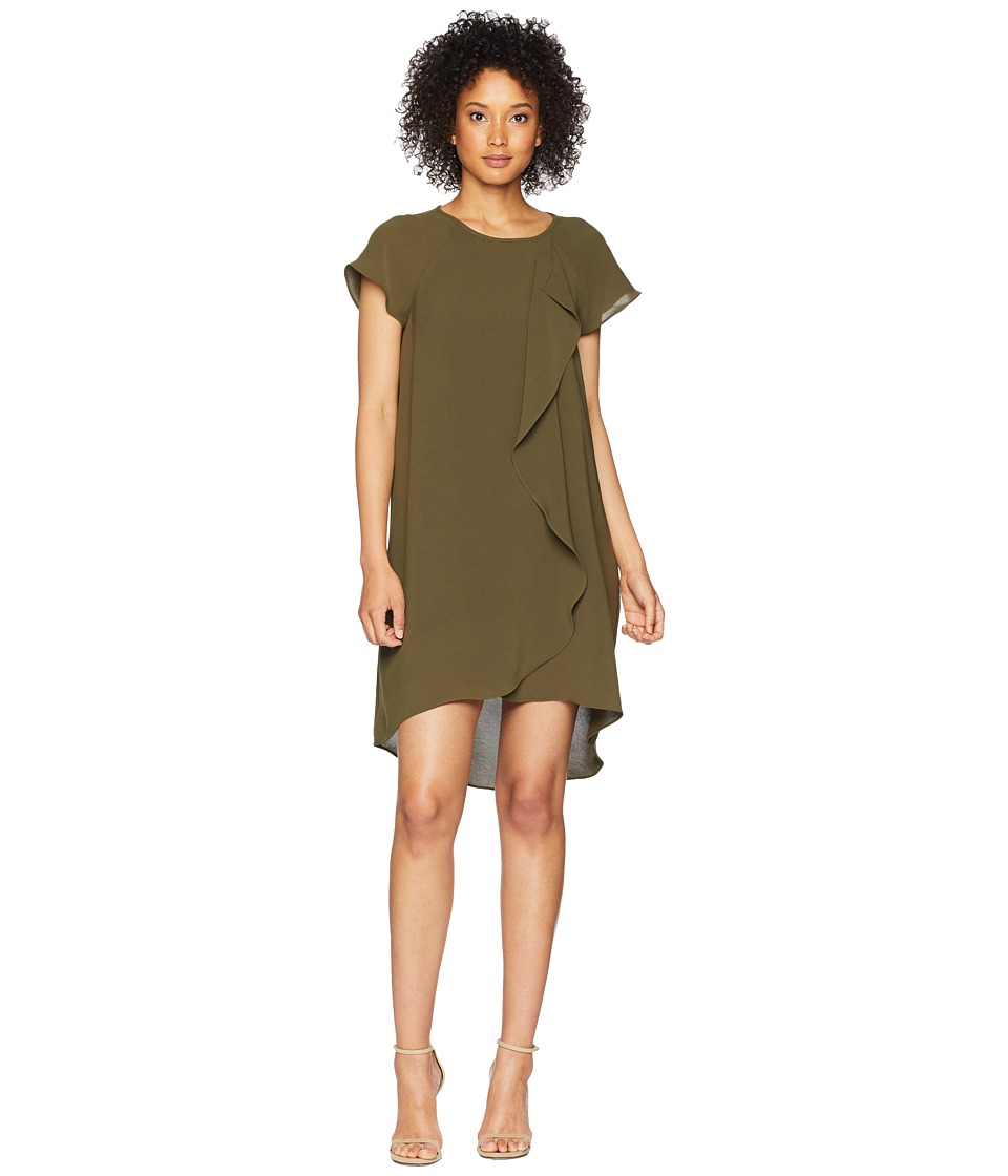Adrianna Papell - Gauzy Crepe Corkscrew Drape Shift Dress with Short Sleeves (Olive) Womens Dress