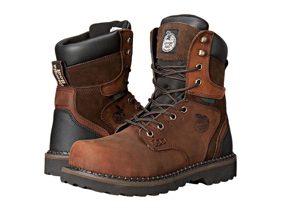 Georgia Boot Brookville 8 Steel Toe Waterproof (Dark Brow...