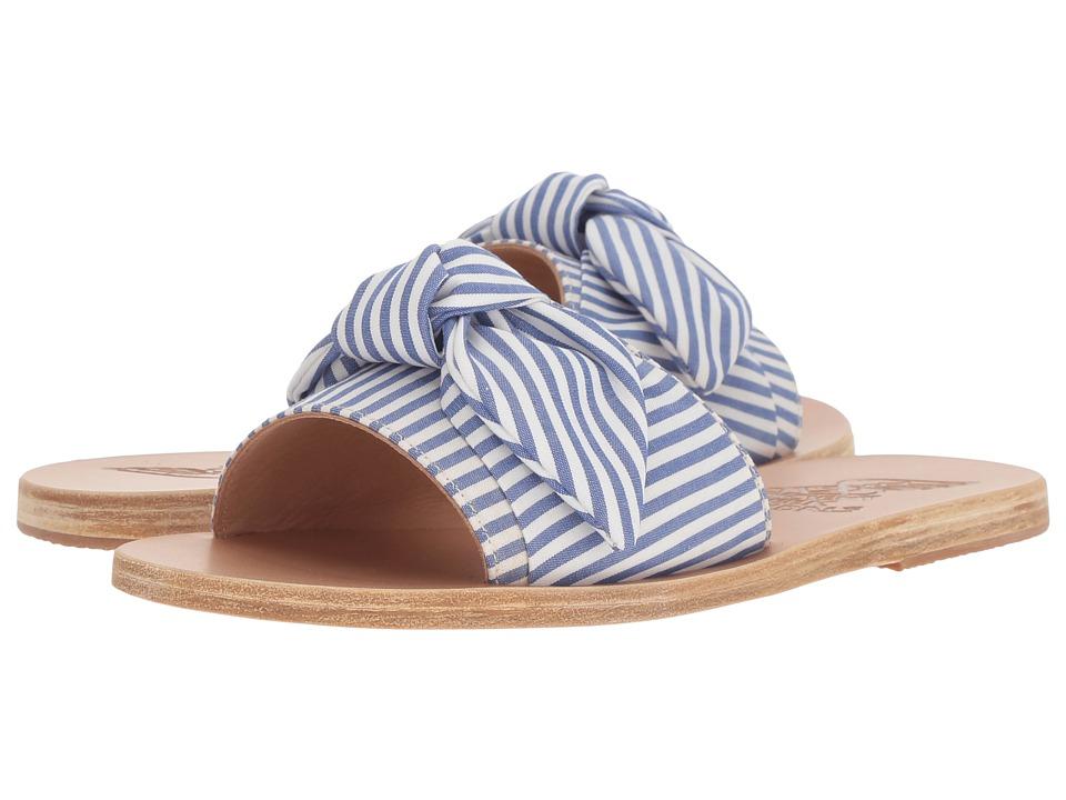 Ancient Greek Sandals Taygete Bow (Stripes Blue Print Cotton) Sandals