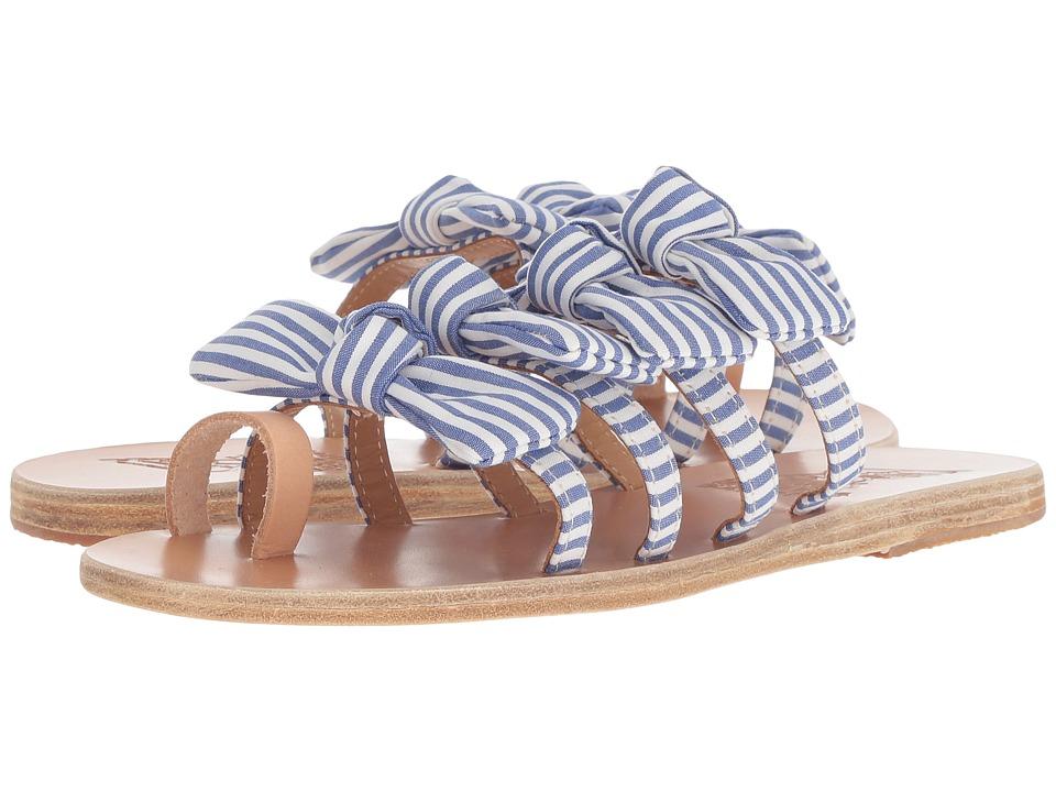 Ancient Greek Sandals Hara (Stripes Blue Vachetta/Print Cotton) Sandals
